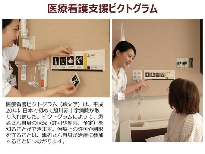 医療看護ピクトグラム(絵文字)は、平成20年に日本で初めて旭川赤十字病院が取り入れました。ピクトグラムによって、患者さん自身の状況(許可や制限、予定)を知ることができます。治療上の許可や制限を守ることは、患者さん自身が治療に参加することにつながります。
